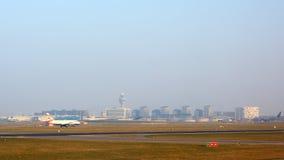 Amsterdam flygplats Schiphol i Nederländerna Fotografering för Bildbyråer