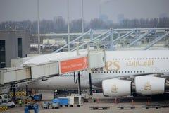 Amsterdam flygplats Schiphol Nederländerna - April 14th 2018: A6--EDUemiratflygbuss A380 Royaltyfri Fotografi