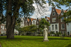 Amsterdam garden near some typical houses. Netherlands stock photos