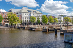 Amsterdam. Gateways on the Amstel River. Stock Photos