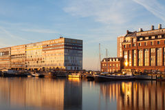 Amsterdam at golden hour. Port in Amsterdam at golden hour Stock Photo