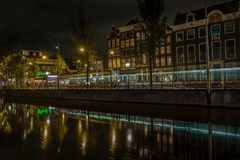 Typies amsterdam, a great city with lots of water, old buildings and colors stock photo