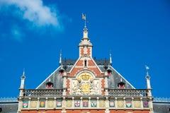 Amsterdam-Hauptbahnhof am sonnigen Tag, die Niederlande Lizenzfreies Stockfoto
