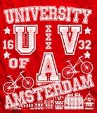 Amsterdam-Hochschulstadt-Mann-T-Shirt Vektor-Grafikdesign Vektor Abbildung