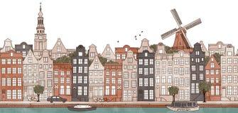 Amsterdam, holandie - bezszwowy sztandar Amsterdam linia horyzontu ilustracja wektor