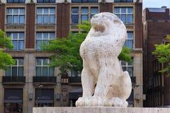AMSTERDAM, holandie - CZERWIEC 25, 2017: Kamienny lew jako część Krajowego zabytku architekta J J P Oud na tama kwadracie zdjęcia royalty free