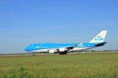Amsterdam holandie - Czerwiec 9th 2016: PH-BFV KLM Królewski Dut Obraz Royalty Free