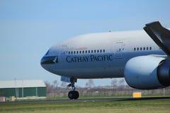 Amsterdam holandie - Marzec 25th, 2017: B-KQY Cathay Pacific Fotografia Stock