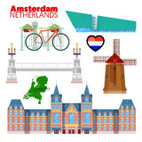 Amsterdam holandii podróży Doodle royalty ilustracja