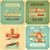 Amsterdam. Holland Card Collection in Flat Design. Vector Illustration Royalty Free Stock Images