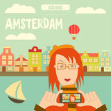 Amsterdam. Holland Card with Colorful Houses and Canal. Selfie Theme.  Vector Illustration Royalty Free Stock Image