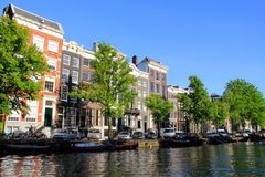 Amsterdam, Holland, water canal living Royalty Free Stock Photo