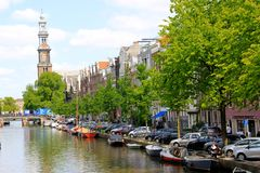 Amsterdam, Holland, water canal living Royalty Free Stock Image