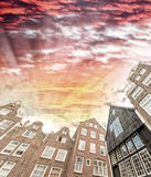 Amsterdam homes. Wide angle view from street level Stock Image