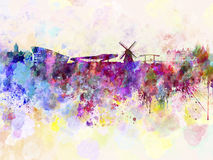Amsterdam horisont i vattenfärgbakgrund Arkivbilder