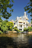 Amsterdam house architecture with river view. In sunlight Stock Photos