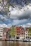 Amsterdam with house near the  canal in Holland Royalty Free Stock Photo