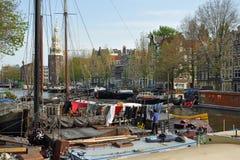 amsterdam houseboats Arkivbild