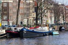 Amsterdam Houseboats Obraz Royalty Free