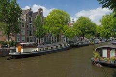 amsterdam houseboats obrazy royalty free