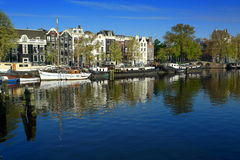 Amsterdam houseboats on Amstel Stock Image