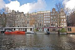 Amsterdam houseboats in the Netherlands Royalty Free Stock Photography