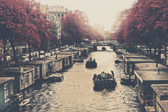 Amsterdam Houseboats. View of Amsterdam's Canal and typical Houseboats Royalty Free Stock Photos