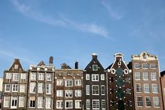 Amsterdam Houses. Buildings In Amsterdam And A Blue Sky stock photo