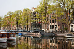 Amsterdam Houses along the Singel Canal Stock Photography
