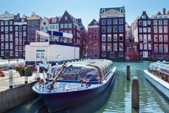 Amsterdam houses and boats royalty free stock image