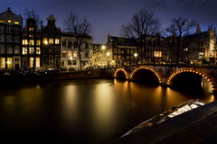 Amsterdam houses on a canal. At night Royalty Free Stock Photography