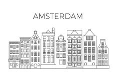 Amsterdam houses city panorama. Dutch street buildings vector skyline. Skyline street city architecture line style illustration Stock Photo