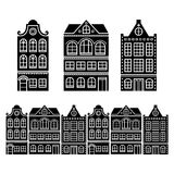 Amsterdam houses, Dutch buildings, Holland or Netherlands icons. Old traditional Dutch houses, town or city buildings in Netherlands design vector illustration