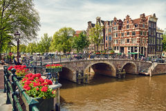 Amsterdam Houses at the Intersection between Prinsengracht and Brouwersgracht Canals Stock Images
