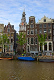 amsterdam houses medeltida Nederländerna Royaltyfri Fotografi