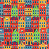 Amsterdam houses seamless pattern Royalty Free Stock Photo