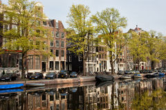 Amsterdam Houses by the Singel Canal Royalty Free Stock Image