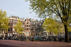 Amsterdam Houses on Singel Canal Stock Photography