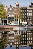 Amsterdam Houses by the Singel Canal Stock Photography