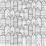 Amsterdam houses style pattern black and white Stock Photo