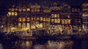 Amsterdam houses view through the glass with raindrops Royalty Free Stock Photography