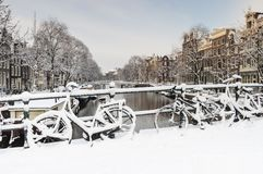 Amsterdam i de-vinter, Amsterdam i vinter royaltyfri bild