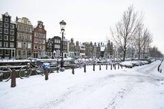 Amsterdam i vinter i Nederländerna Royaltyfria Foton