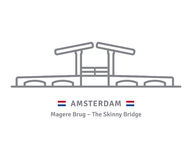 Amsterdam icon with skinny bridge and dutch flag. Amsterdam line icon. Skinny Bridge and flag vector illustration Royalty Free Stock Photography