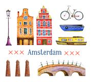 Amsterdam illustration. Watercolor hand drawn set. Houses, bicycle, bridge, boats and architecture details royalty free illustration