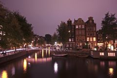 Amsterdam innercity by night Stock Image
