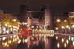 Amsterdam innercity by night in Netherlands. Amsterdam innercity by night in the Netherlands Stock Photo