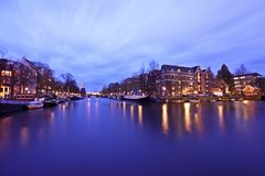 Amsterdam innercity by night in Netherlands Royalty Free Stock Images