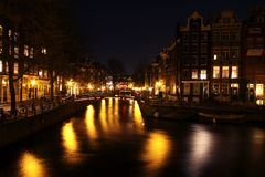 Amsterdam innercity by night in Netherlands Stock Photography