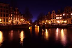 Amsterdam innercity by night in Netherlands Stock Image